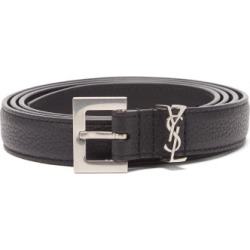 Saint Laurent - Ysl-plaque Grained-leather Belt - Mens - Black found on Bargain Bro UK from Matches UK
