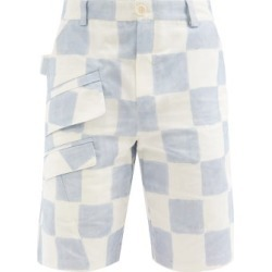 Jacquemus - Colza Check Cotton-blend Shorts - Mens - Blue found on Bargain Bro UK from Matches UK