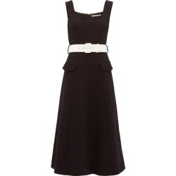 Emilia Wickstead - Petra Belted Wool-crepe Midi Dress - Womens - Black White found on Bargain Bro Philippines from MATCHESFASHION.COM - AU for $1431.27