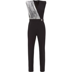 David Koma - Sequinned-panel Crepe Jumpsuit - Womens - Black Silver found on MODAPINS from MATCHESFASHION.COM - AU for USD $2295.03