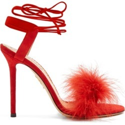 Charlotte Olympia - Salsa Feather-embellished Suede Sandals - Womens - Red found on MODAPINS from MATCHESFASHION.COM - AU for USD $277.90