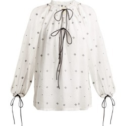 Anaak - Fay Diamond-jacquard Cotton Blouse - Womens - White Print found on MODAPINS from MATCHESFASHION.COM - AU for USD $90.96