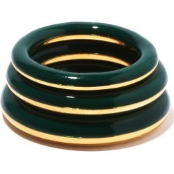 Charlotte Chesnais - Set Of Three Enamel & 18kt Gold-vermeil Rings - Womens - Green Multi found on MODAPINS from MATCHESFASHION.COM - AU for USD $825.69