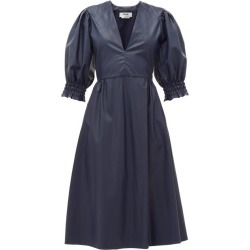 MSGM - Shirred-cuff Faux-leather Dress - Womens - Navy found on Bargain Bro UK from Matches UK