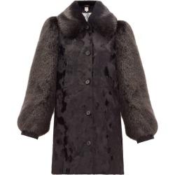 Shrimps - Zane Balloon-sleeve Faux-fur Coat - Womens - Black