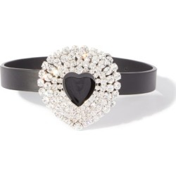 Alessandra Rich - Crystal-embellished Heart Leather Choker - Womens - Black Multi found on MODAPINS from Matches UK for USD $491.04