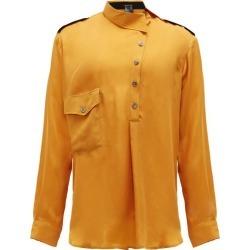 Ann Demeulemeester - Asymmetric-collar Satin Shirt - Mens - Yellow found on MODAPINS from Matches Global for USD $337.00