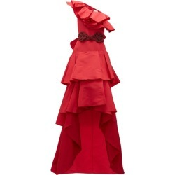 Johanna Ortiz - Cumbia Y Luceros Ruffled Silk-faille Gown - Womens - Red found on MODAPINS from MATCHESFASHION.COM - AU for USD $1018.94