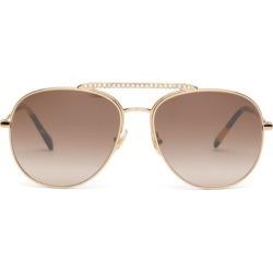 Miu Miu - Crystal-embellished Aviator Metal Sunglasses - Womens - Brown found on Bargain Bro UK from Matches UK