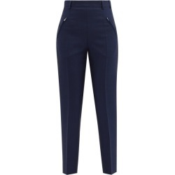 Maison Margiela - Four-stitches High-rise Wool-blend Trousers - Womens - Navy found on Bargain Bro UK from Matches UK