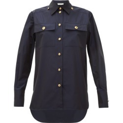 Givenchy - Buttoned Cotton-poplin Shirt - Womens - Navy found on Bargain Bro Philippines from MATCHESFASHION.COM - AU for $1040.04