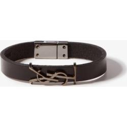 Saint Laurent - Ysl Logo-plaque Leather Bracelet - Mens - Black found on Bargain Bro UK from Matches UK