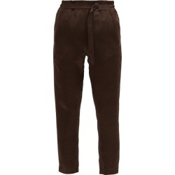 Ann Demeulemeester - High-rise Crinkled-satin Cropped Trousers - Womens - Brown found on MODAPINS from Matches Global for USD $486.00