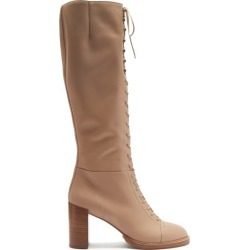 Gabriela Hearst - Pat Lace-up Leather Knee-high Boots - Womens - Beige found on MODAPINS from MATCHESFASHION.COM - AU for USD $1516.98