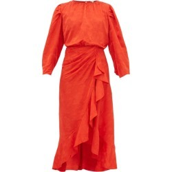 Johanna Ortiz - Cuentos Y Relatos Jacquard-satin Midi Dress - Womens - Red found on MODAPINS from MATCHESFASHION.COM - AU for USD $469.46