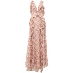 Jonathan Simkhai - Ruffled Tile-print Silk-blend Gown - Womens - Beige Multi found on MODAPINS from MATCHESFASHION.COM - AU for USD $410.58
