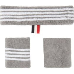 Thom Browne - Four-bar Cotton-towelling Sweatband Set - Mens - Grey found on Bargain Bro Philippines from Matches Global for $85.00