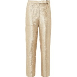 Jonathan Simkhai - Sequin Tailored Trousers - Womens - Gold found on MODAPINS from MATCHESFASHION.COM - AU for USD $115.86