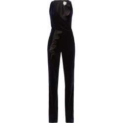 Galvan - Pirouette Ruffled-panel Velvet Jumpsuit - Womens - Navy Multi found on MODAPINS from MATCHESFASHION.COM - AU for USD $319.40