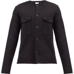 Lemaire - Collarless Felted-jersey Overshirt - Mens - Black found on MODAPINS from Matches Global for USD $390.00