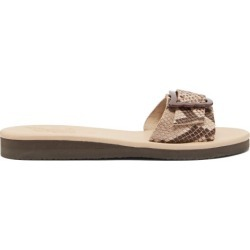 Ancient Greek Sandals - Aglaia Wing-buckle Python Effect-leather Slides - Womens - Pink Multi found on MODAPINS from Matches Global for USD $220.00