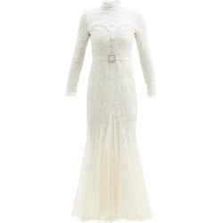 Alessandra Rich - Crystal-embellished Cotton-blend Guipure-lace Gown - Womens - White found on MODAPINS from Matches Global for USD $3475.00