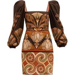Johanna Ortiz - Deluge Puff-sleeved Cotton-poplin Dress - Womens - Brown Multi found on MODAPINS from MATCHESFASHION.COM - AU for USD $1053.96