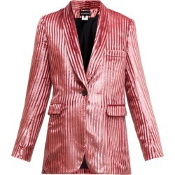 Ann Demeulemeester - Illume Striped Velvet-lamé Single-breasted Blazer - Womens - Light Pink found on MODAPINS from Matches Global for USD $451.00