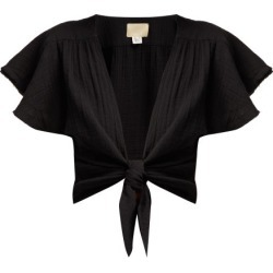 Anaak - Maithili Tie Front Cotton Blouse - Womens - Black found on MODAPINS from Matches Global for USD $250.00