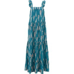 Adriana Degreas - Aloe-print Square-neckline Twill Dress - Womens - Blue Print found on MODAPINS from Matches UK for USD $417.45