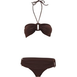 Adriana Degreas - Ring-embellished Halter-neck Bandeau Bikini - Womens - Brown found on MODAPINS from Matches Global for USD $167.00