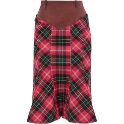 Marine Serre - Fluted-hem Denim And Tartan Pencil Skirt - Womens - Pink Multi found on Bargain Bro Philippines from MATCHESFASHION.COM - AU for $482.80