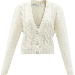 Alessandra Rich - Crystal-embellished Alpaca-blend Cardigan - Womens - White found on MODAPINS from Matches Global for USD $1010.00