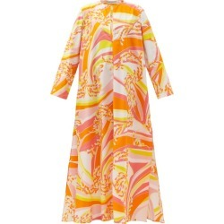 Emilio Pucci - Abstract-print Cotton-poplin Maxi Dress - Womens - Orange Print found on MODAPINS from Matches UK for USD $1008.34