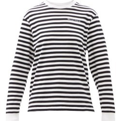Bella Freud - Logo-embroidered Striped Cotton-jersey T-shirt - Womens - Black found on MODAPINS from MATCHESFASHION.COM - AU for USD $109.53