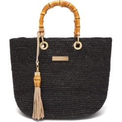 Heidi Klein - Savannah Bay Mini Bamboo Handle Raffia Bag - Womens - Black