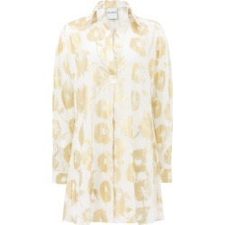 Halpern - Metallic Floral-print Cotton-voile Shirt Dress - Womens - White Gold found on MODAPINS from Matches Global for USD $426.00