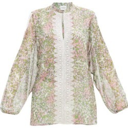 Giambattista Valli - Lace-trimmed Microfloral-print Silk Blouse - Womens - Multi found on MODAPINS from Matches Global for USD $1590.00