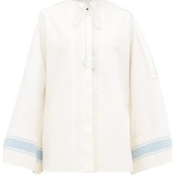 Jil Sander - Tie-neck Cotton Wide-sleeve Shirt - Womens - White Multi found on MODAPINS from Matches Global for USD $447.00