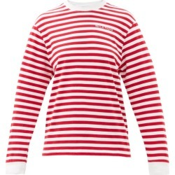 Bella Freud - Logo-embroidered Striped Cotton-jersey T-shirt - Womens - Red found on MODAPINS from MATCHESFASHION.COM - AU for USD $109.53