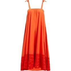 Fendi - Floral-embroidered Cotton Dress - Womens - Orange found on Bargain Bro Philippines from Matches Global for $657.00