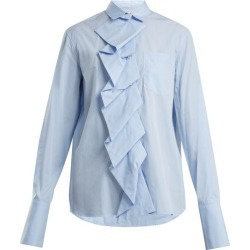 Summa - Ruffled-panel Cotton-poplin Shirt - Womens - Light Blue found on Bargain Bro India from Matches Global for $225.00
