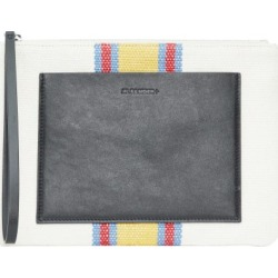 Jil Sander - Striped Linen-canvas And Leather Pouch - Womens - White Multi found on Bargain Bro UK from Matches UK