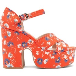 Miu Miu - Daisy-print Twill Platform Sandals - Womens - Red found on Bargain Bro UK from Matches UK