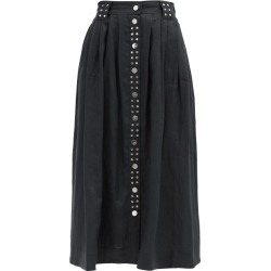Ganni - Studded Linen-poplin Midi Skirt - Womens - Black found on MODAPINS from Matches Global for USD $445.00
