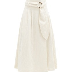 Mara Hoffman - Esperanza Belted Organic Cotton-blend Midi Skirt - Womens - Ivory found on MODAPINS from Matches UK for USD $459.41