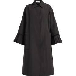 Valentino - Flared-sleeve Cotton-blend Faille Coat - Womens - Black