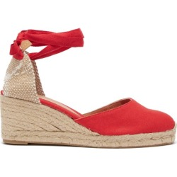 Castañer - Carina 60 Canvas And Jute Espadrille Wedges - Womens - Red found on MODAPINS from Matches Global for USD $135.00