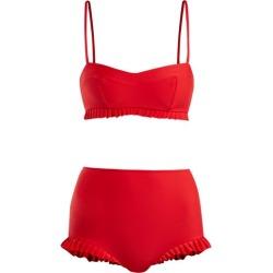 Adriana Degreas - X Charlotte Olympia Ruffle Trim Bikini - Womens - Red found on MODAPINS from Matches UK for USD $512.88