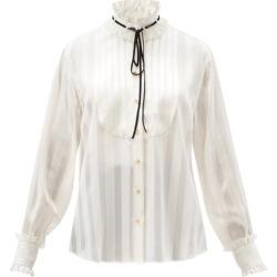 Dolce & Gabbana - High-neck Stripe-jacquard Silk-blend Blouse - Womens - White found on Bargain Bro UK from Matches UK